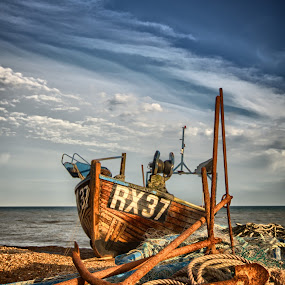 RX37, with anchors by Mark Leader - Transportation Boats ( shore, anchors, rope, hdr, rx37, sea, fishing, boat, hastings, coast )
