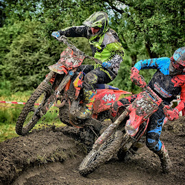 No Space For Two ! by Marco Bertamé - Sports & Fitness Motorsports ( curve, speed, number, yellow, race, noise, turning, 444, red, motocross, blue, clumps, duel, accelerating, crash )