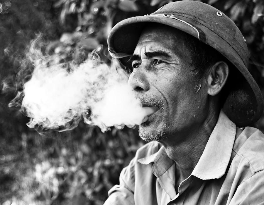Vietnamese Farmer by Duc Nhat - People Portraits of Men ( black and white, men, people )