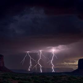 Lightning by Jeff Fahrenbruch - Landscapes Sunsets & Sunrises ( clouds, monument valley, lightning, utah, sunset, arizona, storm )