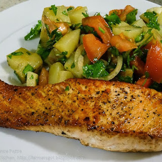 Pan Fried Salmon and a Syrian Potato Salad