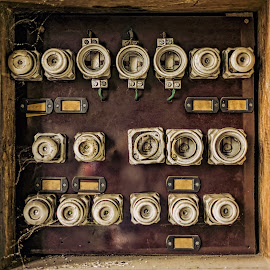 Old fuse panel by Opreanu Roberto Sorin - Artistic Objects Still Life ( panel, contactor, old, technology, retro, equipment, switch, rusty, grunge, danger, metal, dirty, power, supply, electricity, rust, industry, work, control, wire, vintage, electric, fuse, green, board, electronic, broken, many, safety, electrical, industrial, voltage, background, service, circuit, factory, box, antique, phase, energy, wall )