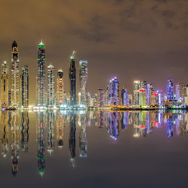 Dubai Marina Skyline by Dmitriy Andreyev - City,  Street & Park  Night