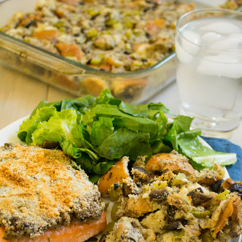 Olive Crusted Salmon {with Olive Sage Stuffing}