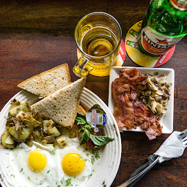 Breakfast 2 by Varok Saurfang - Food & Drink Plated Food ( beer, eggs, butter, bread, breakfast, bacon )