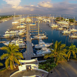 Marina at Sunset by John Pounder - Transportation Boats ( drone, harbor, mexico, sunset, boats, marina )