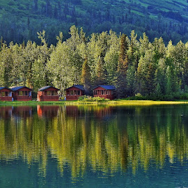 Summer At The Lake by Patricia Phillips - Landscapes Travel ( lakes alaska summit - lake summer-cabins )