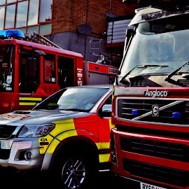 Fire service  by David Sheppard - Transportation Other ( firefighters fire fire engines 999 sos 911 uk british red blue batternburg lights west midlands )