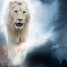 Ascendance by Moné Ehlers - Digital Art Animals ( myth, lion, nature, ascendance, people )