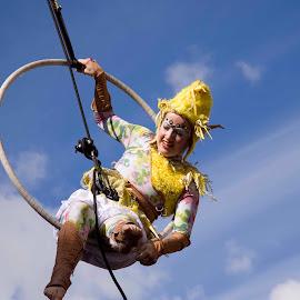 Ariel acrobat  by Helen Quinn - People Street & Candids ( acrobats, street party, limerick, city of culture, 2020 )