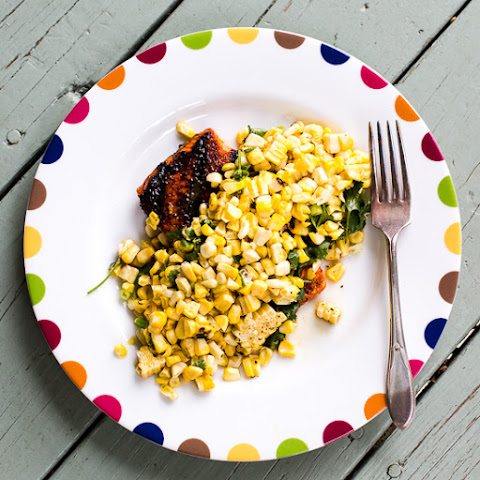 Chile Rubbed Salmon with Toasted Corn Vinaigrette
