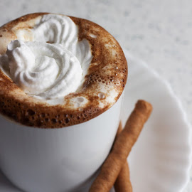 Coffee with shipped cream by Suzana Trifkovic - Food & Drink Alcohol & Drinks ( cup, roll, waffle, drink, coffee, white, whipped, cream )
