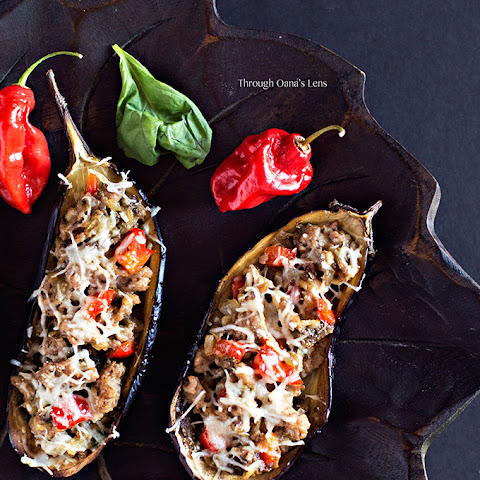 Turkey Sausage Stuffed Eggplants