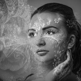 reflective by Kathleen Devai - Digital Art People ( monochrome, woman, art, portrait )