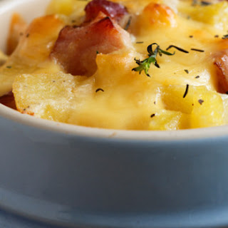 Potato Mushroom and Bacon Gratin