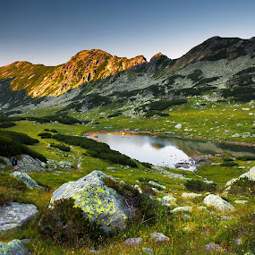 Stanisoara Lake, Retezat by Eduard Moise - Landscapes Mountains & Hills ( sunset, green, summer, lake, rocks )
