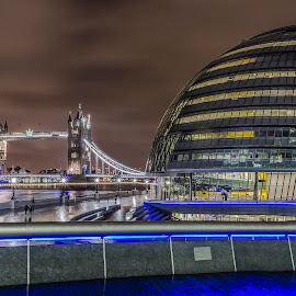 Tower Bridge and City Hall, London by Zisimos Zizos - Buildings & Architecture Public & Historical ( city hall, more london, night photography, london, tower bridge, long exposure, cityscape, longexposure, sony a6000, nightscape )