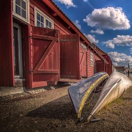 Canoes by Ole Steffensen - City,  Street & Park  Street Scenes ( copenhagen, holmen, street, denmark, canoes,  )