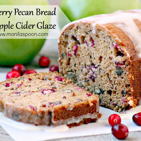 Cranberry Pecan Bread with Apple Cider Glaze
