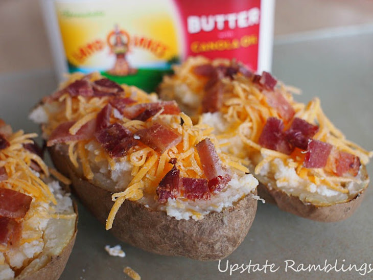 Twice Baked Potatoes with Cheddar Cheese and Bacon Recipe | Yummly