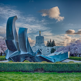 Last Light - Oregon State Capitol by Craig Pifer - City,  Street & Park  City Parks ( oregon capitol, oregon, hdr, dusk, spring, cherry blossoms )