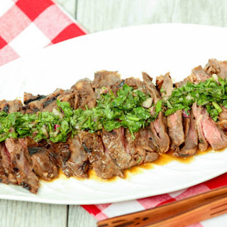 Whiskey Marinated Skirt Steak with Chimichurri Sauce