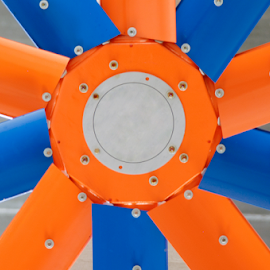 ceiling fan by Marco Astan - Abstract Patterns ( cool, wind, orange, colorful, electric, colors, illustration, screw, image, traditional, circle, fan, dot, comfortable, ventilation, simplicity, clean, highlite, circulation, blue, ceiling, blade, electricity, high )