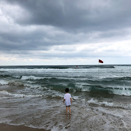 Sense of awe by Oded Ahuvia - Landscapes Beaches ( nature, weather, clouds, sea, child )
