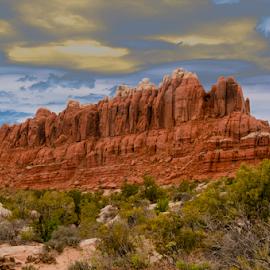 castle rock formation by Beverly Kilzer - Landscapes Deserts ( moab, sage, sky, desert, utah, dramatic, rock, castle, brush, formation )