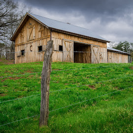 The Old Barn by Andrew Block - Landscapes Prairies, Meadows & Fields ( field, fence, road to nowhere, barn, grass, green, bryson city )