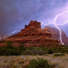 The Electric Vortex of Bell Rock by Steven Love - Landscapes Weather ( scary, famous, spectacular, hdr, bright, bell rock, sandstone, rock, high dynamic range, storm, dangerous, photo, manipulation, amazing, lightning, arizona, weather, sedona, formation )