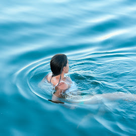 Surfacing Mermaid by Garry Dosa - People Street & Candids ( water, person, female, blue, people, mermaid, swimming )