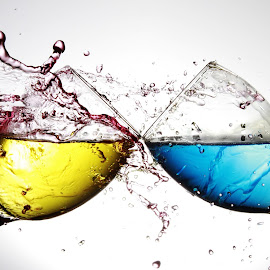 Water splashing on two glasses by Peter Salmon - Artistic Objects Glass ( colour, water, splash, pour, glass )