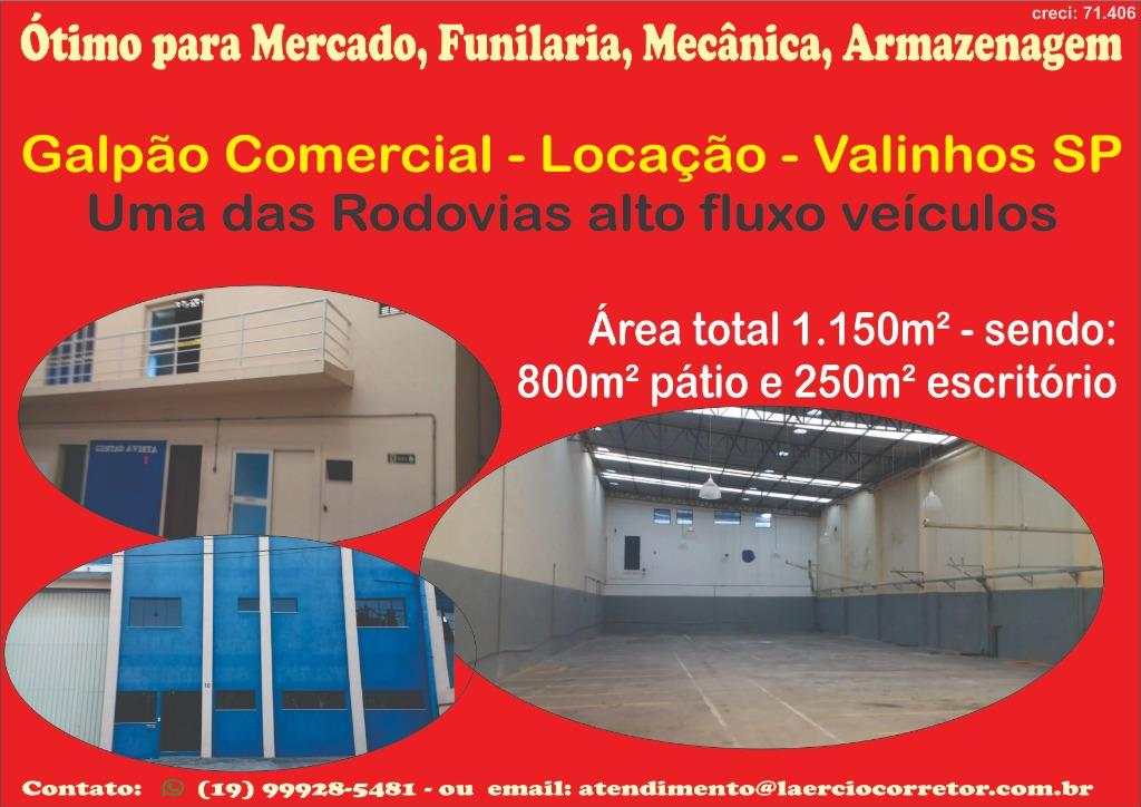 Excelente Galpão Comercial com 1150m² Valinhos, ótimo local. Logística, Funilaria, Mecânica, Mercado, Igrejas. Já possui várias igrejas na vizinhança