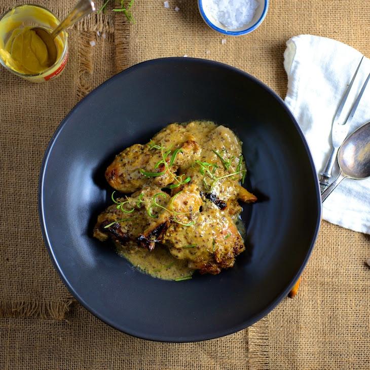 Maple-Mustard Baked Chicken Thighs Recipe | Yummly