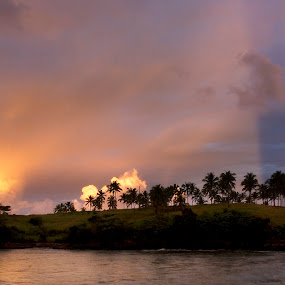 Over the rainbow by Jenni Ertanto - Landscapes Beaches ( water, sunset, beach, landscape, rainbow )