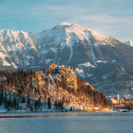 Bled Castle on lake and mountains by Aleš Krivec - Landscapes Travel ( water, mountains, winter, nature, church, fog, beautiful, bled, castle, lake, mist, island )