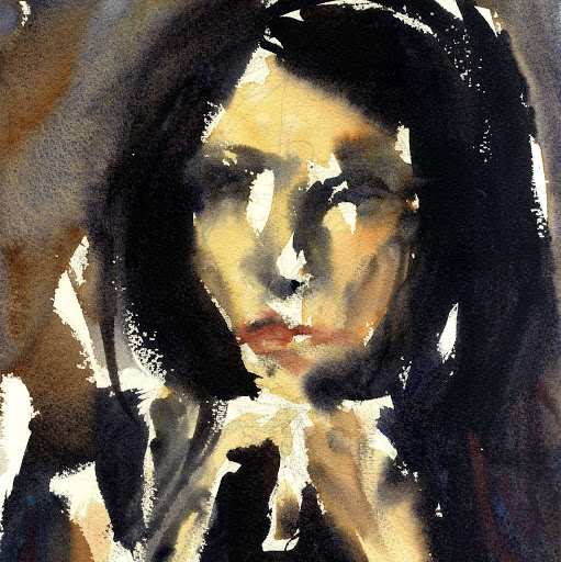 Figurative woman art print from watercolour painting