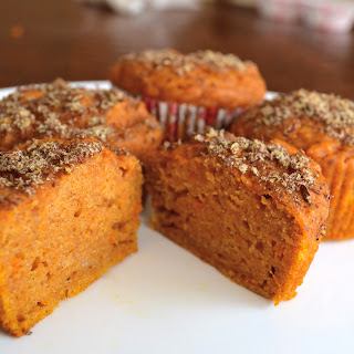 SWEET POTATO MUFFINS WITH CRUNCHY FLAX TOPPING