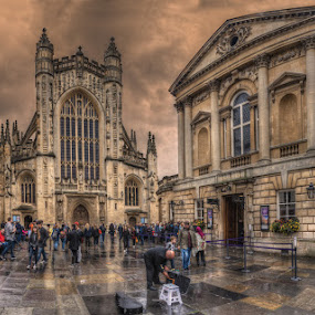 The Cathedral of Bath by Krasimir Lazarov - Buildings & Architecture Places of Worship ( place of worship, bath, cathedral, street scene, cityscape, town, architecture, united kingdom )