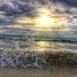 Gods Glory  by Rob King - Landscapes Beaches ( water, splash, seascapes, waves, cloudscape, ocean, sunrise, beach,  )