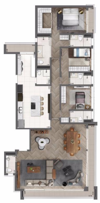 Planta Opção Living e Cozinha Ampliado - 202 m²