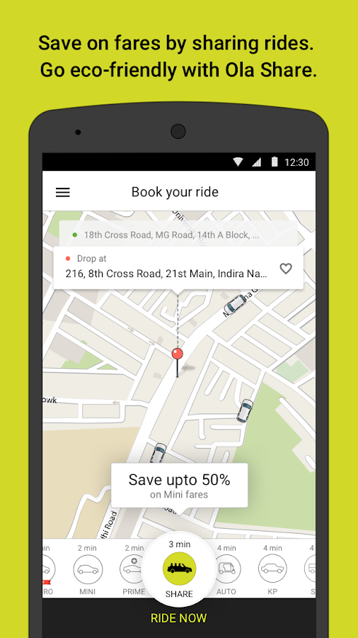 Ola cabs - Book taxi in India Screenshot 1