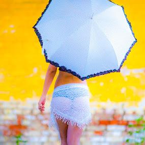 Woman with umbrella by Albin Bezjak - People Professional People ( woman, yelow, umbrella )
