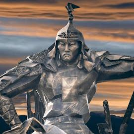 Monument by Tsatsralt Erdenebileg - Digital Art Abstract ( fantasy, bronze, public park, gold&blue, hdr, sunset, horse, monument, metallic, hard, war )