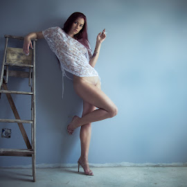 The look by Anco Pretorius - Nudes & Boudoir Artistic Nude ( ladder, model, nude, smoking, beauty )