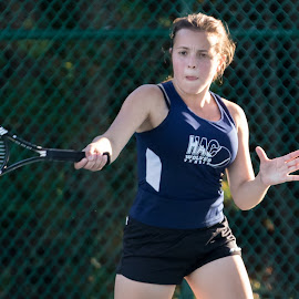 Varsity Girls Tennis by Adam Northrup - Sports & Fitness Tennis ( girls, racket, varsity, forehand, tennis )