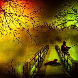 Fishing Bridge by Eugene Linzy - Digital Art People ( fog, sunrise, fishing, dog, boy, mist )