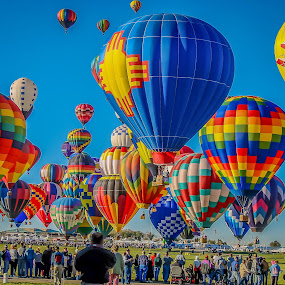 Colorful launch by Ruth Sano - Transportation Other ( launch, fiesta, balloons, hot air balloons, new mexico,  )