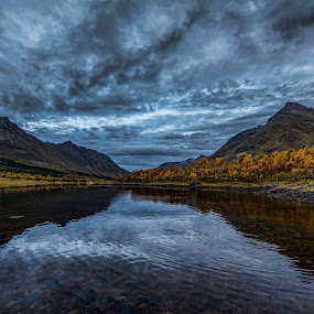 Autumn by Benny Høynes - Landscapes Waterscapes ( sky, autumn, fall, reflections, sea, landscapes, skies, norway )